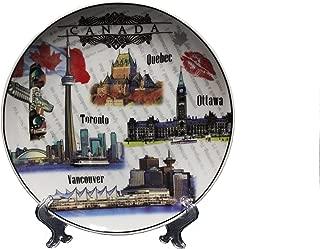 CANADA, QUEBEC, OTTAWA, TORONTO, VANCOUVER - VIEWS Ceramic BIG Souvenir PLATE With Stand .Size : 8