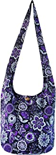 Fully Lined Flowers and Butterflies Handbags Hippie Hobo Sling Crossbody Shoulder Bag Gypsy Boho Medium