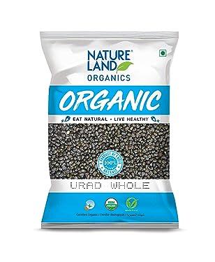Natureland Organics Urad Whole/Sabut/Urad Kali Daal Pouch, 1 kg