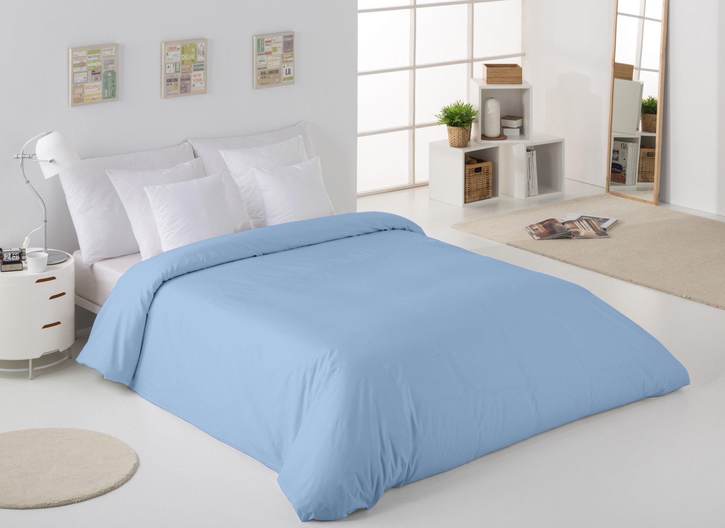 ESTELA - Funda nórdica Combi Color Azul Celeste - Cama de 105 cm. - 50% Algodón / 50% Poliéster - 144 Hilos: Amazon.es: Hogar
