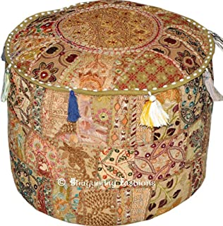 Radhy krishna fashions Indian Vintage Ottoman Pouf Cover,Patchwork Ottoman, Living Room Patchwork Foot Stool Cover,Decorative Handmade Home Chair Cover (Beige, 14X22X2)