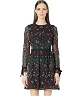 ML Monique Lhuillier - Long Sleeve Embroidered Mesh Dress