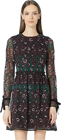 Long Sleeve Embroidered Mesh Dress