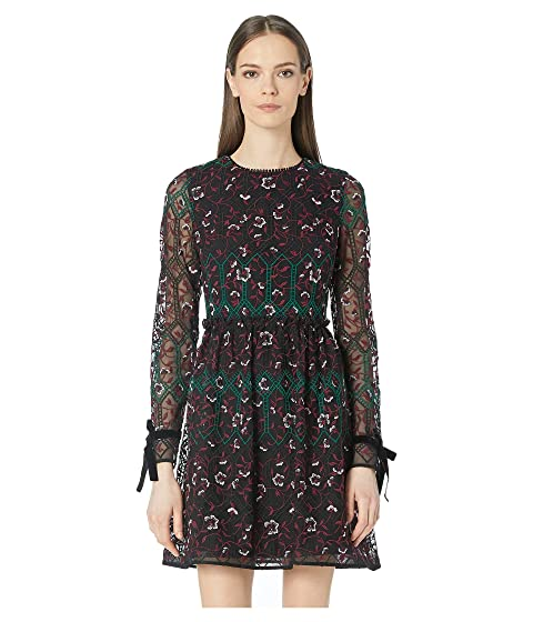 ML Monique Lhuillier Long Sleeve Embroidered Mesh Dress