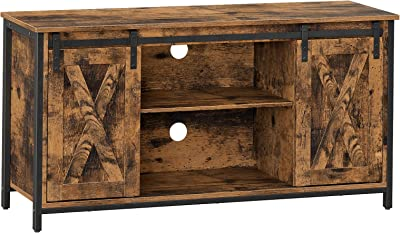 VASAGLE TV Stand with Adjustable Storage Shelves, Entertainment Center for 50 inch TV, TV Console with Sliding Barn Doors, TV Cabinet, Industrial Design, Rustic Brown ULTV45BX