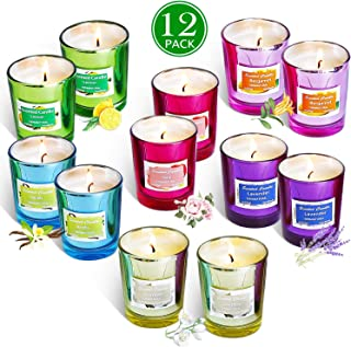 HELLY Scented Candles Gift Set, Natural Soy Wax 2 Oz Per Cup Portable Glass Candles Women Gift with Strongly Fragrance Essential Oils for Stress Relief and Aromatherapy - 12 Pack
