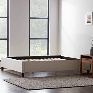Lucid Upholstered Platform Bed with Slats – Wood Construction – Linen Inspired Fabric – No Box Spring Required – Compatible with Adjustable Bases