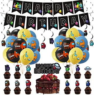 Among Us Party Supplies, Among Us Party Decoration for Kids Birthday Come with Balloons, Cake Topper, Cupcake Topper, Swir...