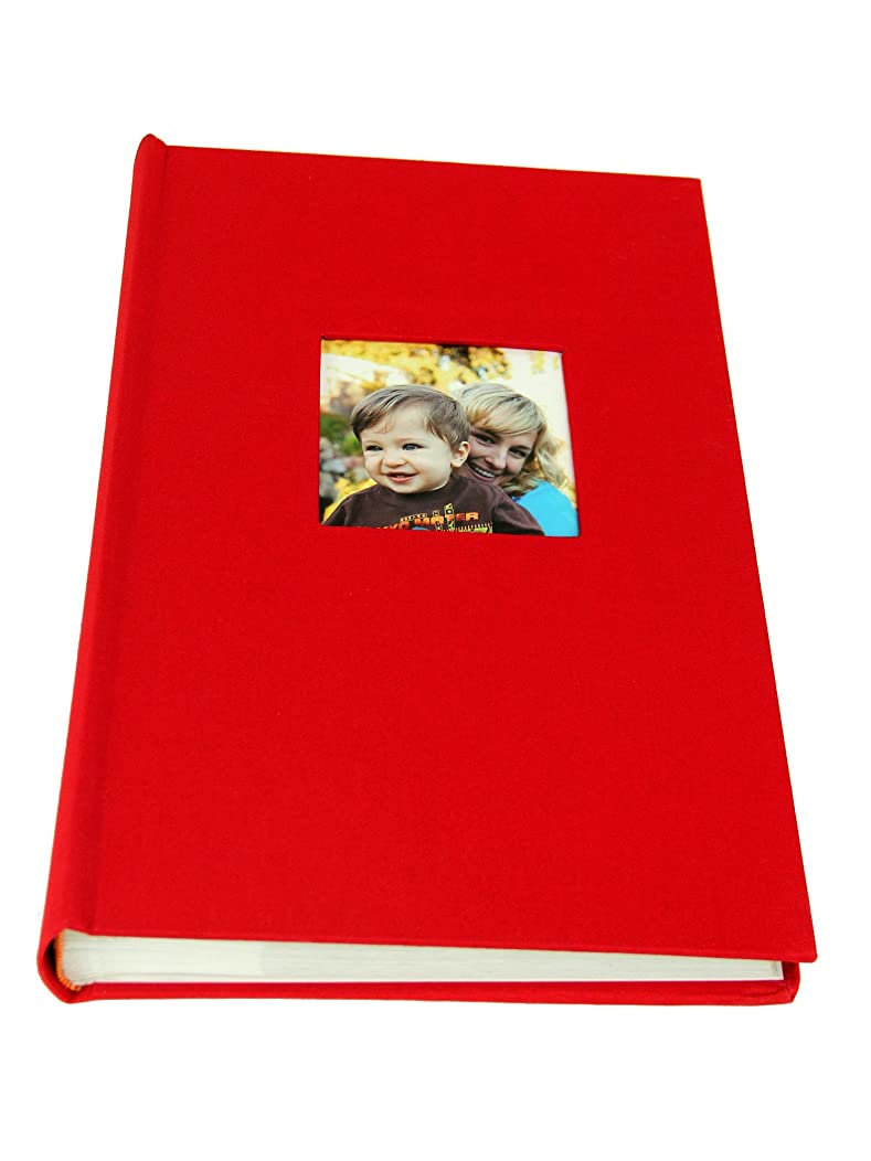 Deluxe Cloth Fabric Photo Album 4x6 300 Plastic Slip-in Pockets with Memo Space and Front Cover Theme Frame. Apple Red