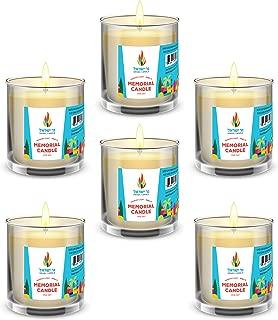 24 Hour Glass Memorial Yizkor Candle Yahrzeit Candle Yiskor Candle Yom Kippur (6-Pack)