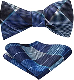 Men's Check Plaid Jacquard Self Tie Bow Tie Pocket Square Set Wedding Party
