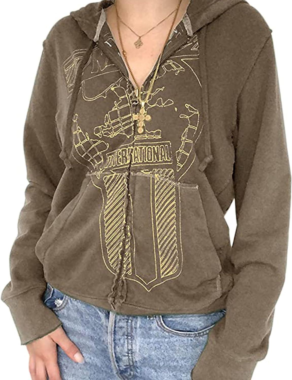 KAMISSY Women's Cute Graphic Print Sweatshirt Y2K Zip Up Kangaroo Pocket Long Sleeve Casual Loose Hoodie Jacket