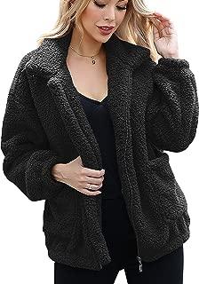 Caracilia Women's Fashion Long Sleeve Lapel Zip Up Faux Shearling Shaggy Oversized Coat Jacket with Pockets