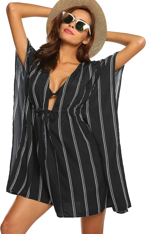 ADOME Swimsuit Cover Ups for Women V-Neck Oversized Beach Bikini Cover Ups for Swimwear Beachwear