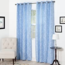 """Bedford Home Inas Embroidered Curtain Panel, 84"""", Light Blue"""