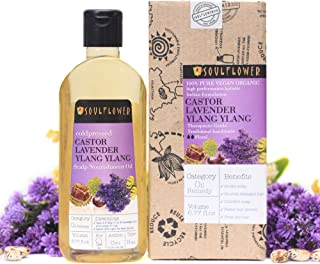 Soulflower Indian Coldpressed Castor Lavender Ylang Ylang Hair Nourishment Oil, Pure Herbal Formulation for Healthy Hair and Scalp, 6.77 Fl.Oz,Vegan & Organic, Bonus Travel Mini Spray
