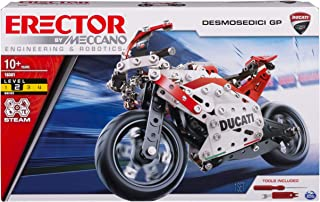 MECCANO Erector Ducati GP Model Motorcycle Building Kit, Stem Engineering Education Toy, 358 Parts, for Ages 10 & Up