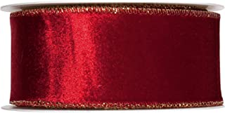 FloristryWarehouse Wine Red Christmas Velvet fabric ribbon 2 inches wide x 9 yards roll Gold Wired edge