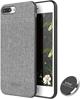iPhone 8 Case, iPhone 7 Case PU Leather Fabric Pattern Phone Cover Magnet Absorbent Function Hard Back Case with in-Car Magnet Holder (DO NOT Support Wireless Charging) - 4.7 Inch, Grey
