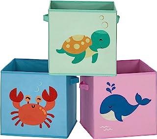 SONGMICS Boîtes de Rangement pour Enfants, Lot de 3, Paniers à Jouets, Pliables, avec poignées, Chambre d'enfant, Salle de...