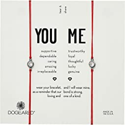 You + Me, Crystal On Red Cord Friendship Bracelets, Set of 2