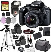 Canon EOS Rebel 4000D Digital SLR Camera with EF-S 18-55mm f/3.5-5.6 DC III Lens Kit (Rebel T100) Pro Accessory Bundle Package Deal : 32gb SD Card + DSLR Bag + 57'' Tripod + More - International Model