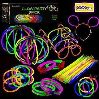 Paquete de Fiesta de barritas Luminosas con Conectores – Suministros de Luces de Colores para Todo Tipo de Fiestas, cumpleaños y Festivales   Pulseras Brillantes, Pendientes y anteojos.
