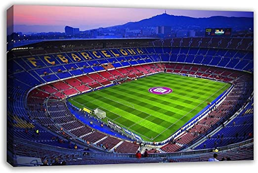 Amazon Com Fc Barcelona Camp Nou Football Stadium Spain Catalonia Canvas Wall Art 44 X 26 110 X 65cm Home Kitchen