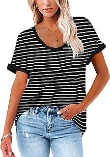 Hurrg Women Stripe Shirts Top Loose Button Up V Neck Short Sleeve Shirts