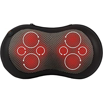 Gideon Shiatsu Deep Kneading Massage Pillow with Eight Rollers and Heat/Massage, Relax, Sooth and Relieve Neck, Shoulder and Back Pain