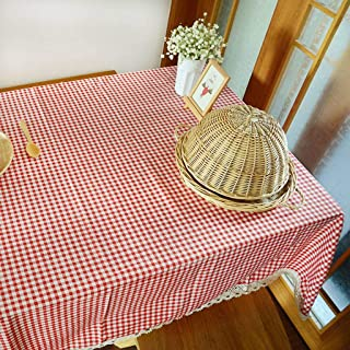 JHLD Rectangle Tablecloth, Linen Table Cloth Lattice Lace Edge Farmhouse Style Easy Clean Table Cover, for Banquet, Parties, Tabletop Decoration-red-55×98.5inch
