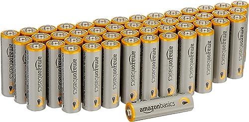 AmazonBasics, Pilas alcalinas de alto rendimiento, Paquete de 48, Gris, AAA