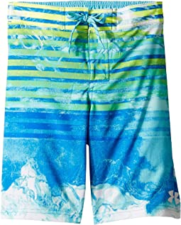 Marble Stripe 1/2 Back Elastic Boardshorts (Big Kids)