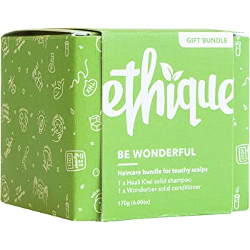 Ethique Eco-Friendly Shampoo & Conditioner Bar Bundle for Touchy Scalps - Sustainable & Natural Bars, Soap Free, pH Balanced, Vegan, Plant Based, Palm Oil Free, 100% Compostable & Zero Waste, 6oz