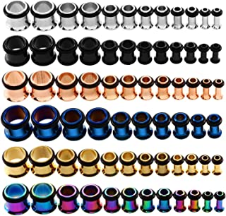 KUBOOZ 9pairs Stainless Steel Single Flared Ear Plugs Kit Tunnels Gauges Stretcher Piercings Mixed Size 14G-00G