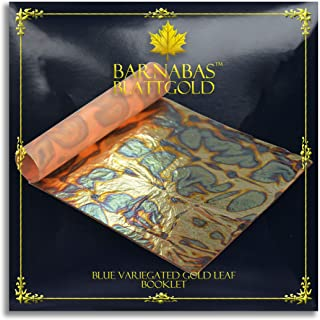 Variegated Gold Leaf Sheets - by Barnabas Blattgold - Color - Blue - 25 Sheets - 5.5 inches Booklet