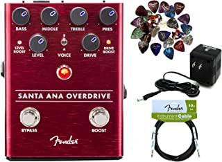 Fender Santa Ana Overdrive Pedal Bundle with Power Supply, Instrument Cable, and 24 Picks