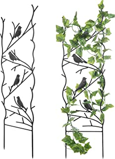 MyGift Bird Design Metal Garden Trellises for Outdoor Climbing Plants, Set of 2