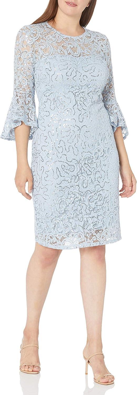 Marina Women's Bell Sleeve Lace Cocktail Dress
