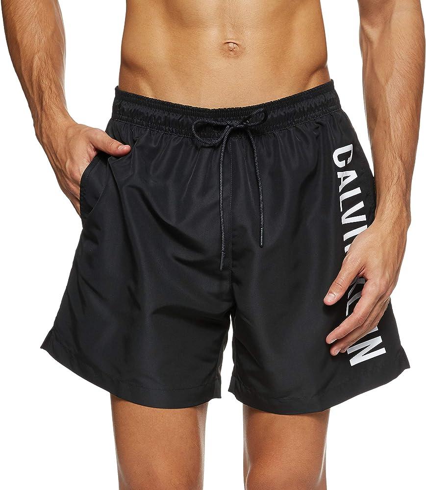 Calvin klein medium drawstring,costume da bagno a pantaloncini per uomo ,100% poliestere KM0KM00452B