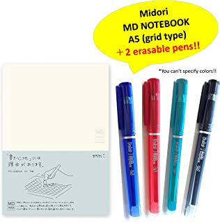 Midori MD Notebook - A5 Grid + + Delat Erasable Gel Ink Ballpoint Pen 0.5mm 2 random colors (Black,Red, Blue or Green)