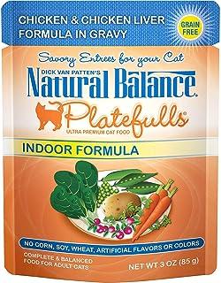 Natural Balance Platefulls Chicken & Chicken Liver Formula in Gravy Indoor Wet Cat Food, 3 Ounces (Pack of 24)