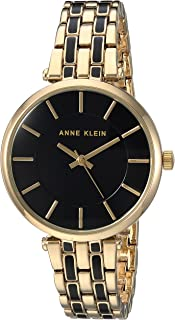 Anne Klein Womens AK/3010BKGB Gold-Tone and Black Bracelet Watch
