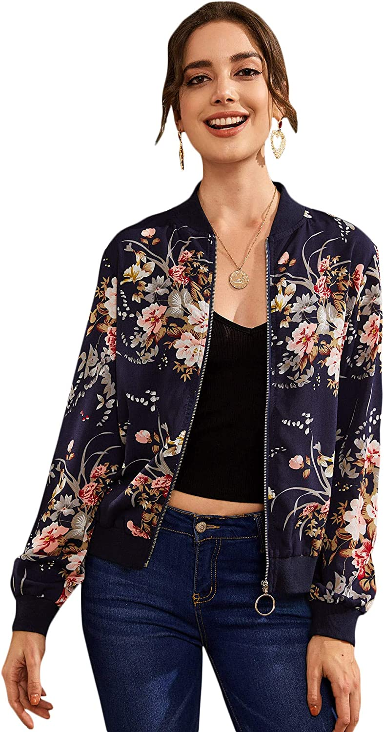Romwe Women's Casual Floral Print Zip Up O Ring Lightweight Bomber Jacket Multicolor#2 X-Small