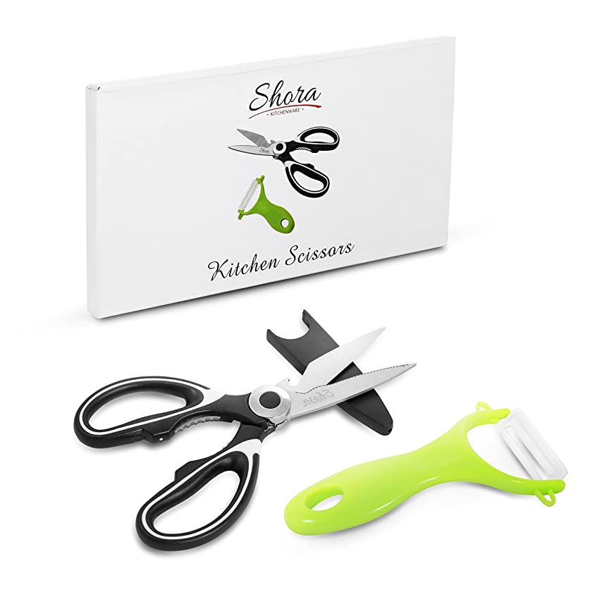 Shora Multi-Purpose Kitchen Utility Scissors: Ultra-Sharp Premium Heavy Duty Stainless Steel Shears, Cutter, Opener and Nut Cracker with Free Peeler