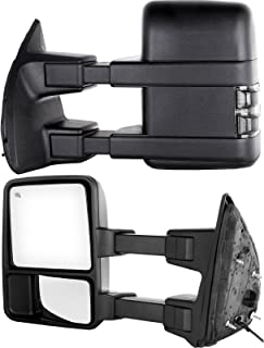 Towing Telescoping Folding Black Textured Tow Mirrors Manual with Smoke Signal and Dual Glass for 08-14 Ford F250 F350 F450 F550 Super Duty Left&right Passenger&driver Side View Mirror Pair Set