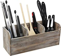 Vintage Rustic Barnwood Torched Wood Kitchen Utensil Holder – 3 Compartment Organizer Caddy Box For Cooking, Silverware, Flatware, Sauce Spoon, Tongs, and More