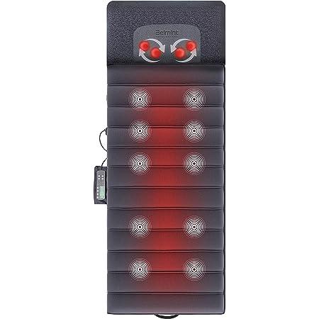 Belmint Massage Mat - Full Body Vibration Massager Pad for Bed with Rotating Shiatsu Neck Massage Pillow - 10 Vibrating Motors, 4 Warming Heating Spots - Neck, Shoulder Back Massager