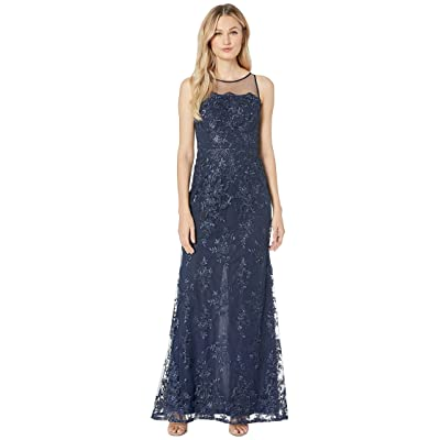 Adrianna Papell Halter Corded Lace Dress (Midnight) Women