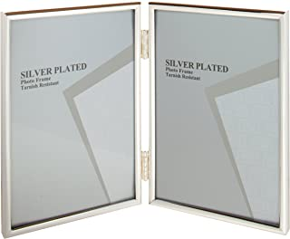 Viceni Silver Plated Thin Edge Hinged Double Aperture Photo Frame, 3.5 by 5-Inch